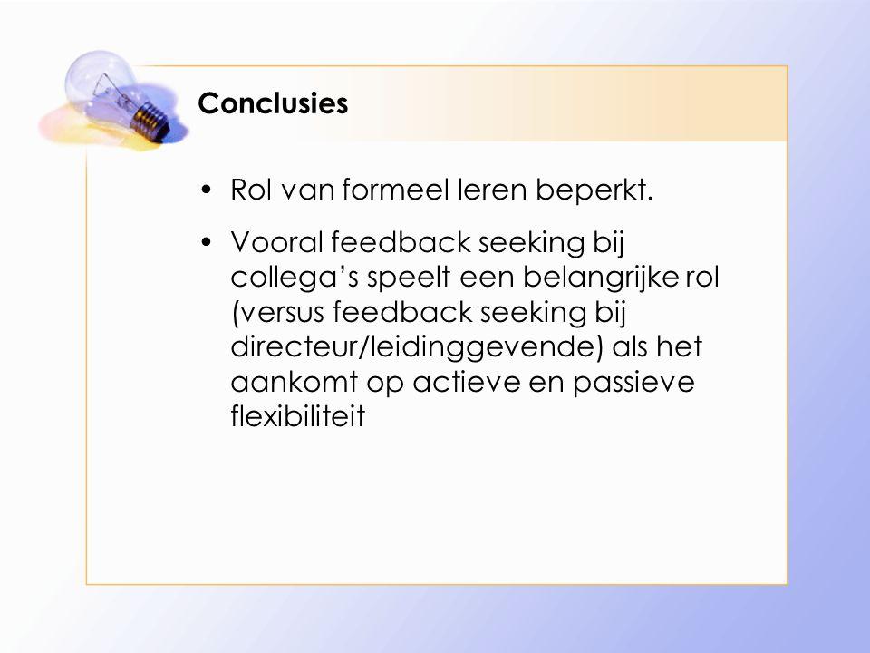 Conclusies Rol van formeel leren beperkt.