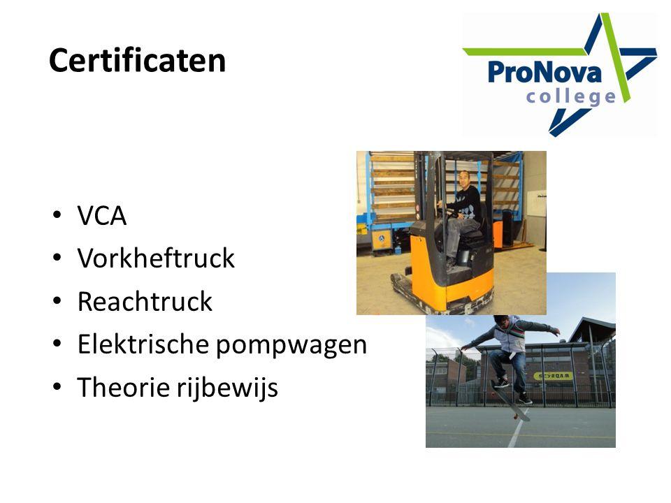 Certificaten VCA Vorkheftruck Reachtruck Elektrische pompwagen