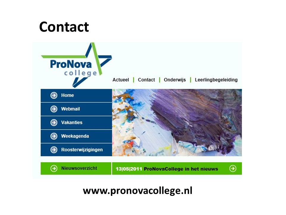 Contact www.pronovacollege.nl