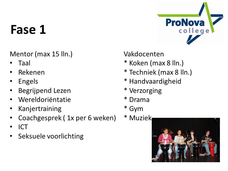 Fase 1 Mentor (max 15 lln.) Vakdocenten Taal * Koken (max 8 lln.)