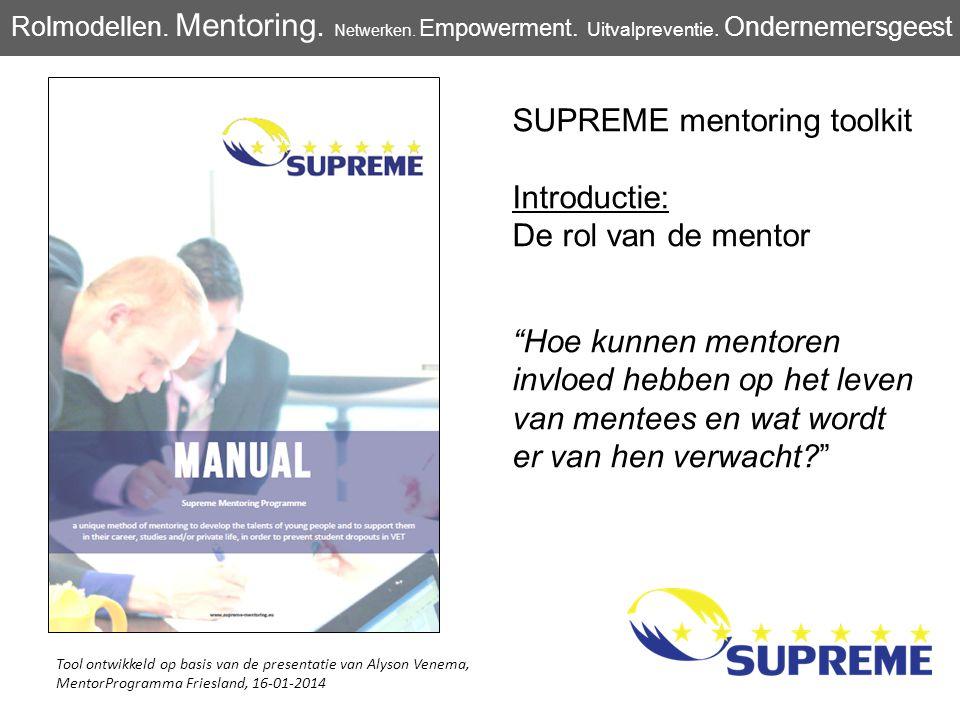 SUPREME mentoring toolkit Introductie: De rol van de mentor