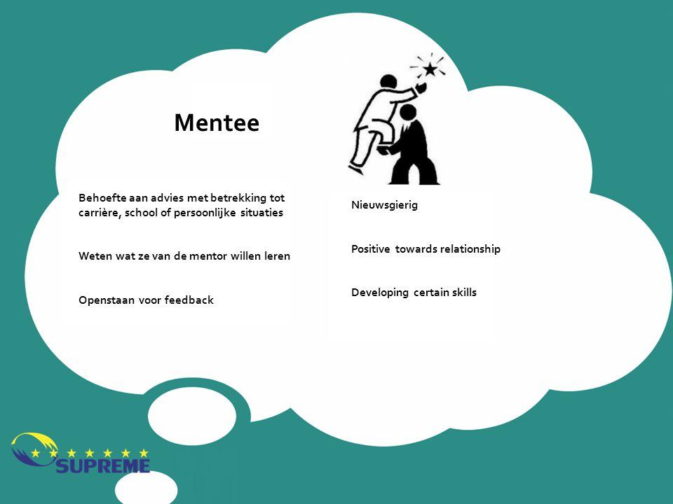 Mentee Behoefte aan advies met betrekking tot carrière, school of persoonlijke situaties. Weten wat ze van de mentor willen leren.