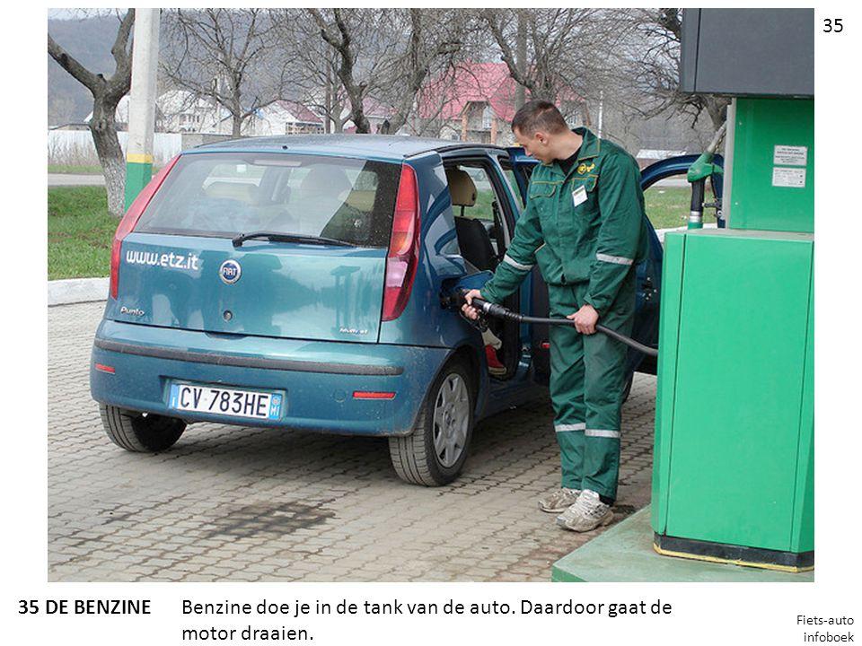 Benzine doe je in de tank van de auto. Daardoor gaat de motor draaien.