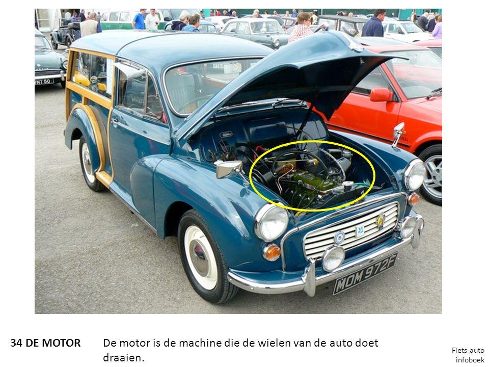 De motor is de machine die de wielen van de auto doet draaien.