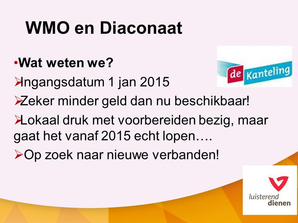 WMO en Diaconaat Wat weten we Ingangsdatum 1 jan 2015