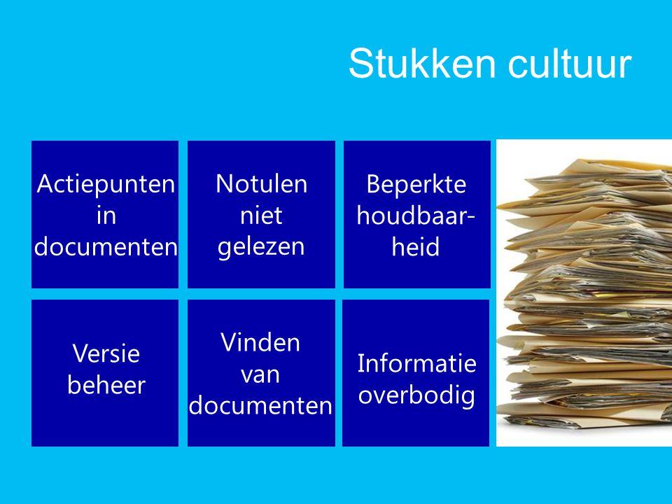 Stukken cultuur Actiepunten in documenten Notulen niet gelezen