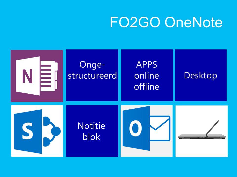 FO2GO OneNote Onge- structureerd APPS online offline Desktop Notitie