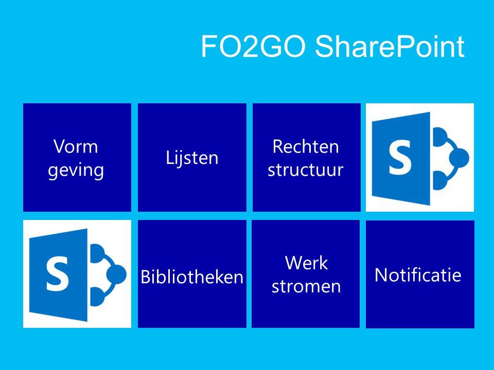 FO2GO SharePoint Vorm geving Rechten structuur Lijsten Werk stromen