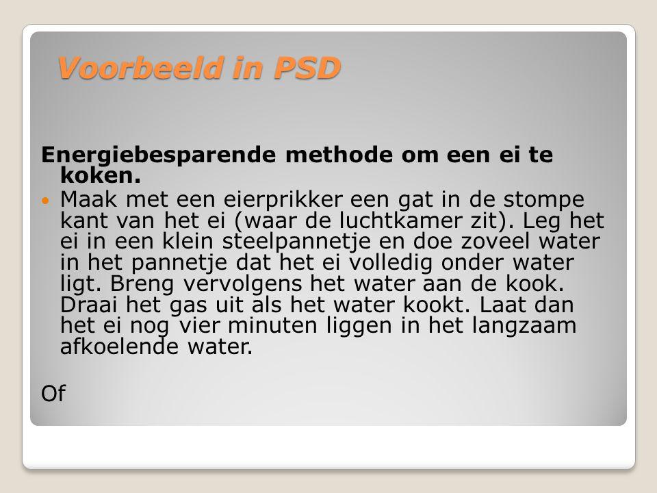 Voorbeeld in PSD Energiebesparende methode om een ei te koken.