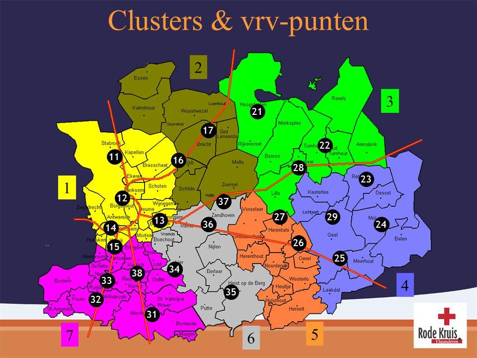 Clusters & vrv-punten 2. 3. 21. 17. 22. 11. 16. 28. 23. 1. 12. 37. 27. 29. 13. 36. 24.