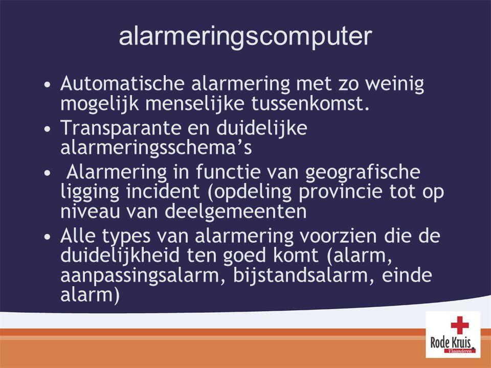 alarmeringscomputer Automatische alarmering met zo weinig mogelijk menselijke tussenkomst. Transparante en duidelijke alarmeringsschema's.