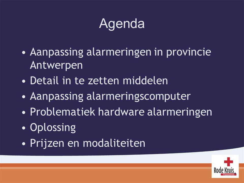 Agenda Aanpassing alarmeringen in provincie Antwerpen