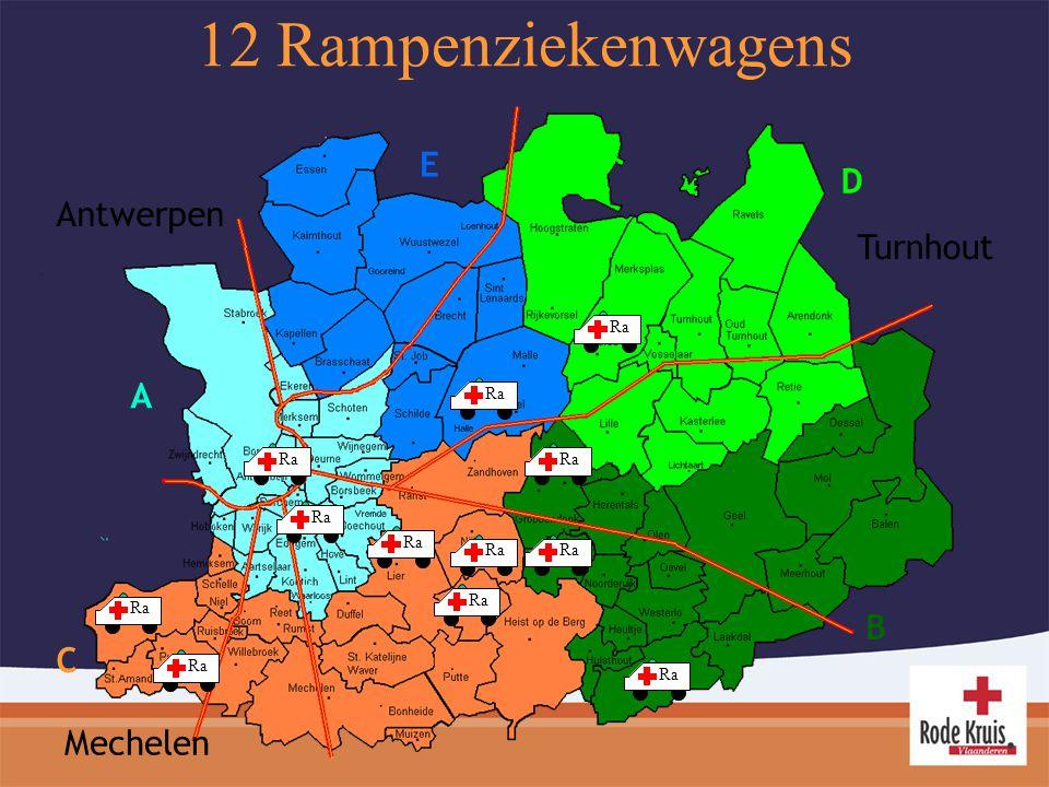12 Rampenziekenwagens E D Antwerpen Turnhout A B C Mechelen Ra Ra Ra