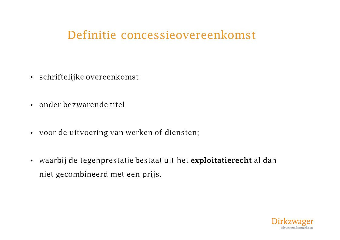 Definitie concessieovereenkomst