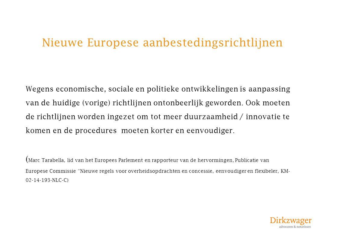 Nieuwe Europese aanbestedingsrichtlijnen