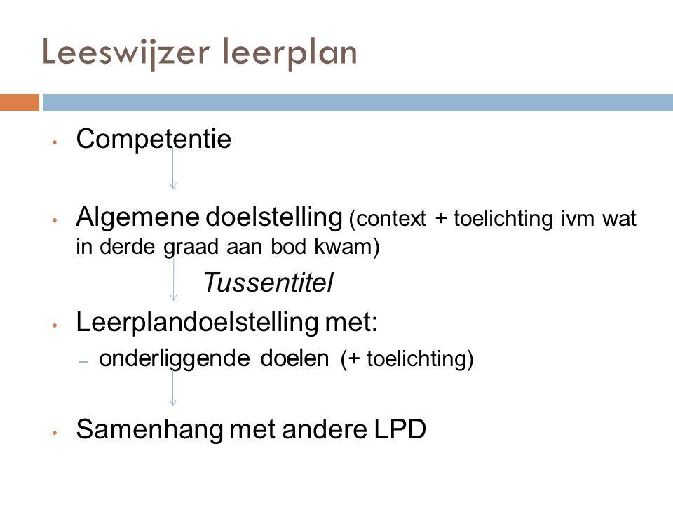 Leeswijzer leerplan Competentie