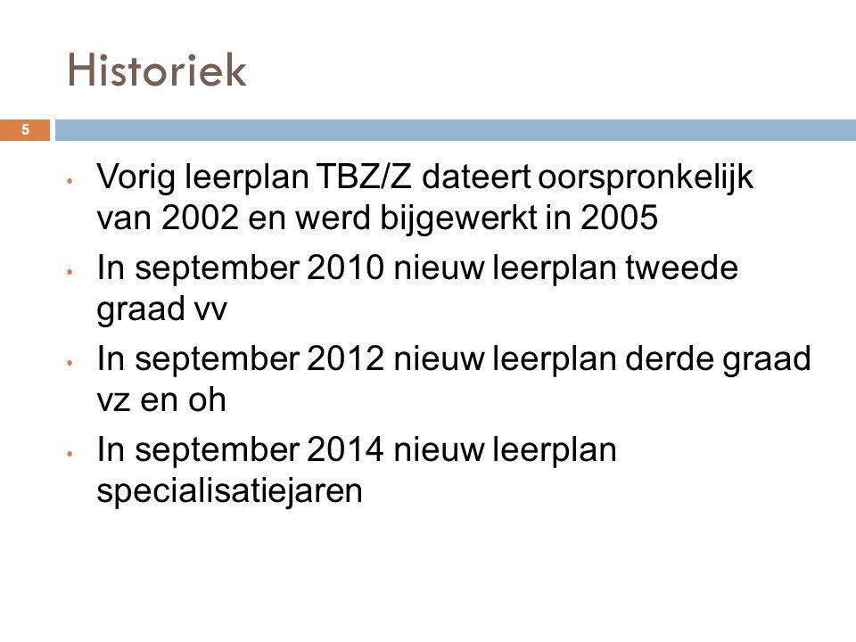 Historiek Vorig leerplan TBZ/Z dateert oorspronkelijk van 2002 en werd bijgewerkt in 2005. In september 2010 nieuw leerplan tweede graad vv.