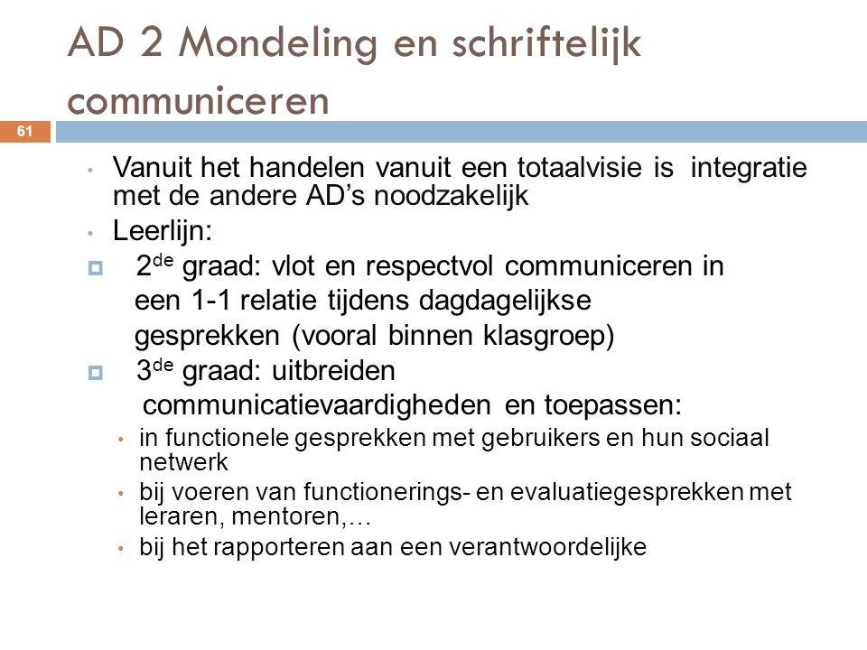 AD 2 Mondeling en schriftelijk communiceren