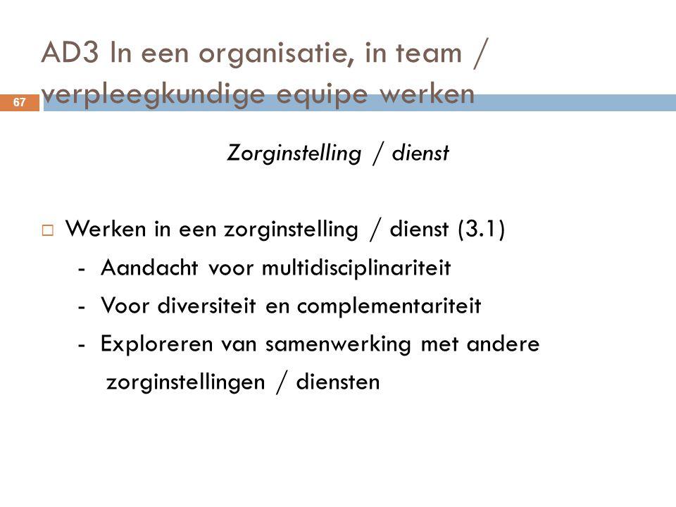 AD3 In een organisatie, in team / verpleegkundige equipe werken