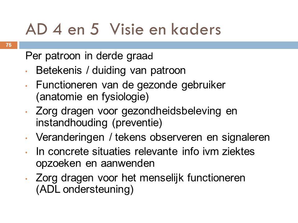 AD 4 en 5 Visie en kaders Per patroon in derde graad