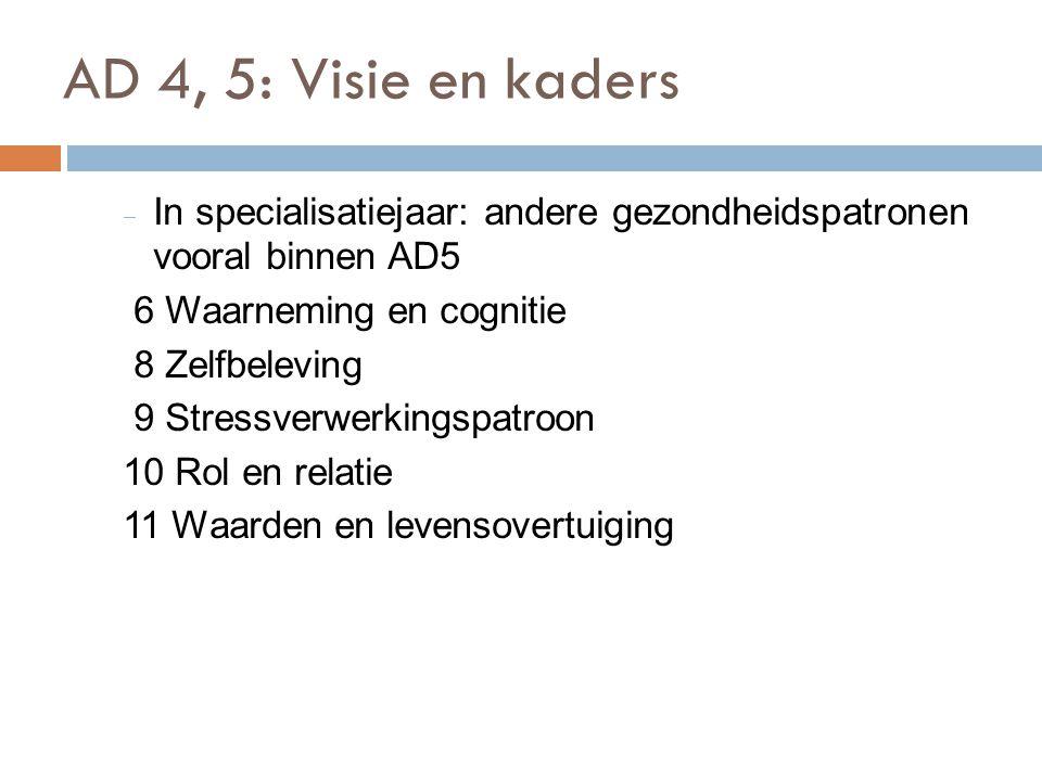 AD 4, 5: Visie en kaders In specialisatiejaar: andere gezondheidspatronen vooral binnen AD5. 6 Waarneming en cognitie.