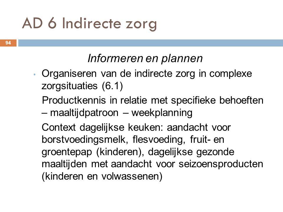 AD 6 Indirecte zorg Informeren en plannen
