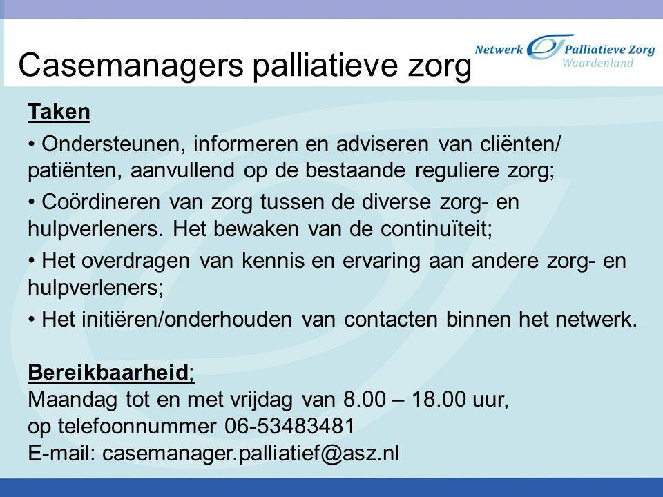 Casemanagers palliatieve zorg