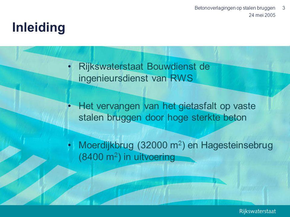 Inleiding Rijkswaterstaat Bouwdienst de ingenieursdienst van RWS