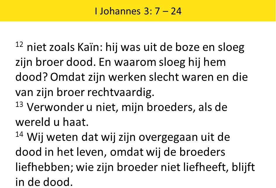 13 Verwonder u niet, mijn broeders, als de wereld u haat.