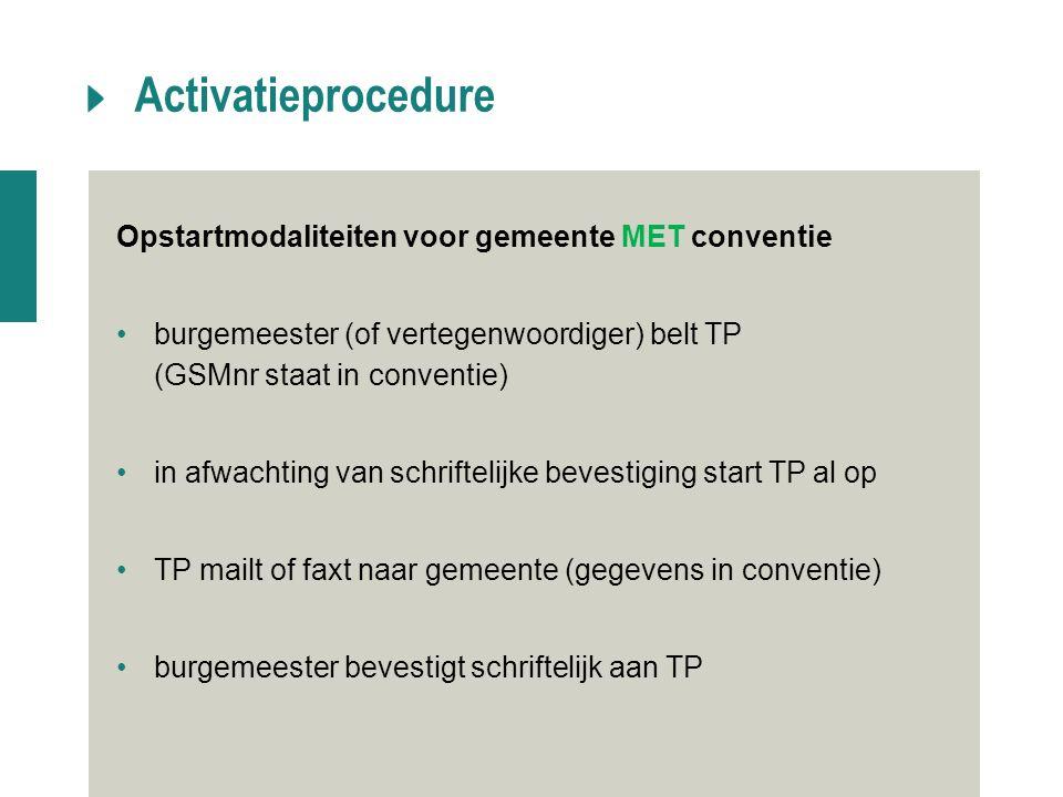 Activatieprocedure Opstartmodaliteiten voor gemeente MET conventie