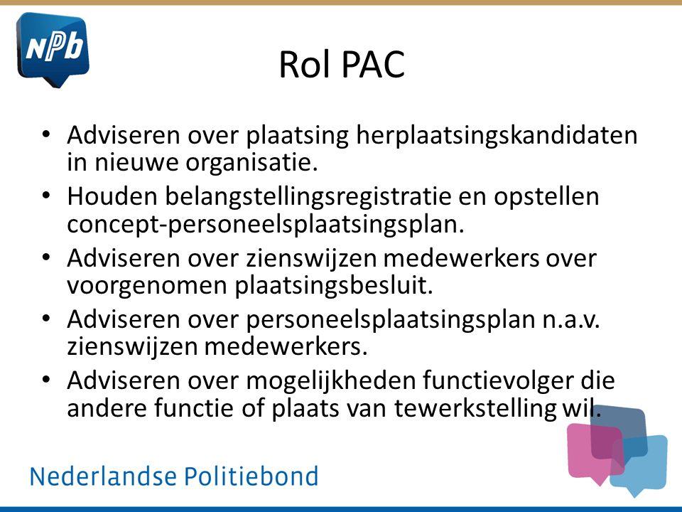 Rol PAC Adviseren over plaatsing herplaatsingskandidaten in nieuwe organisatie.