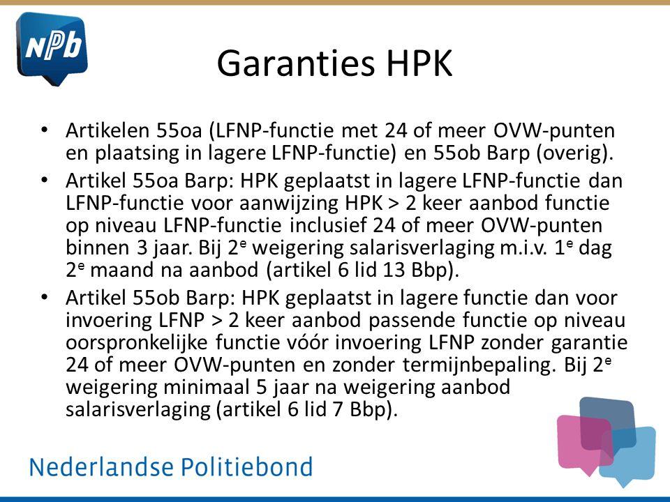 Garanties HPK Artikelen 55oa (LFNP-functie met 24 of meer OVW-punten en plaatsing in lagere LFNP-functie) en 55ob Barp (overig).