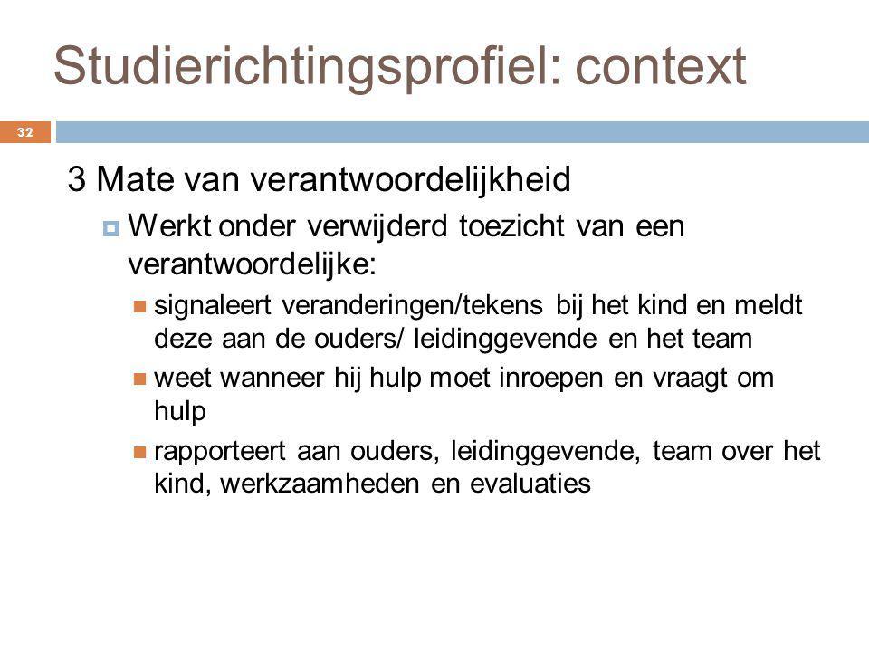 Studierichtingsprofiel: context