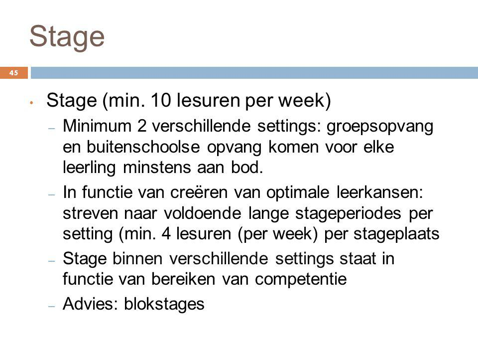 Stage Stage (min. 10 lesuren per week)