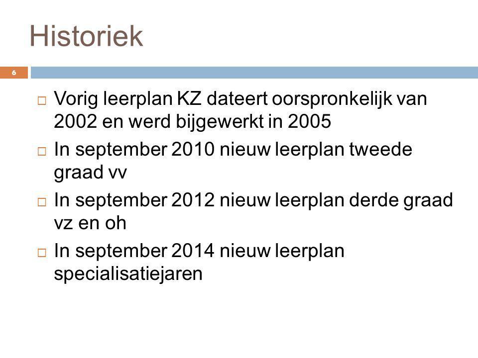 Historiek Vorig leerplan KZ dateert oorspronkelijk van 2002 en werd bijgewerkt in 2005. In september 2010 nieuw leerplan tweede graad vv.