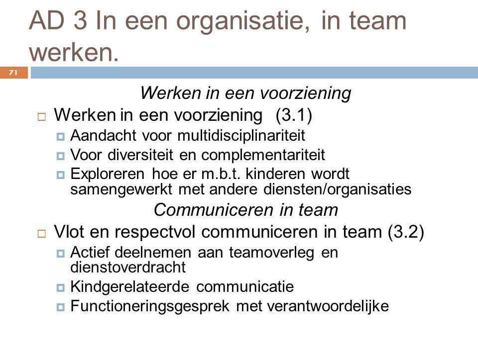 AD 3 In een organisatie, in team werken.