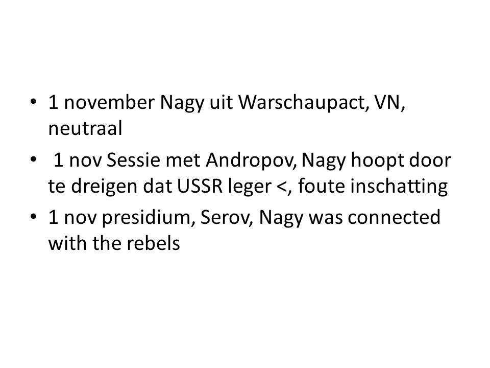 1 november Nagy uit Warschaupact, VN, neutraal