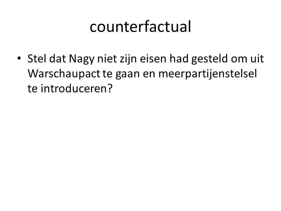 counterfactual Stel dat Nagy niet zijn eisen had gesteld om uit Warschaupact te gaan en meerpartijenstelsel te introduceren