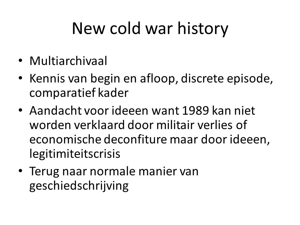 New cold war history Multiarchivaal