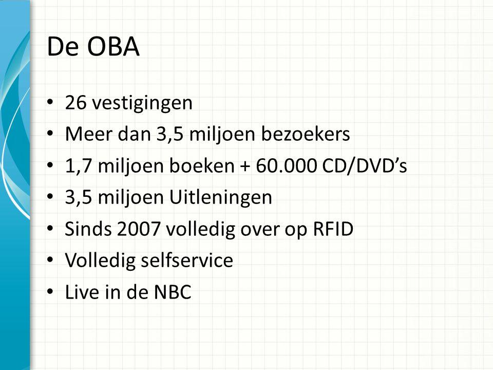 De OBA 26 vestigingen Meer dan 3,5 miljoen bezoekers