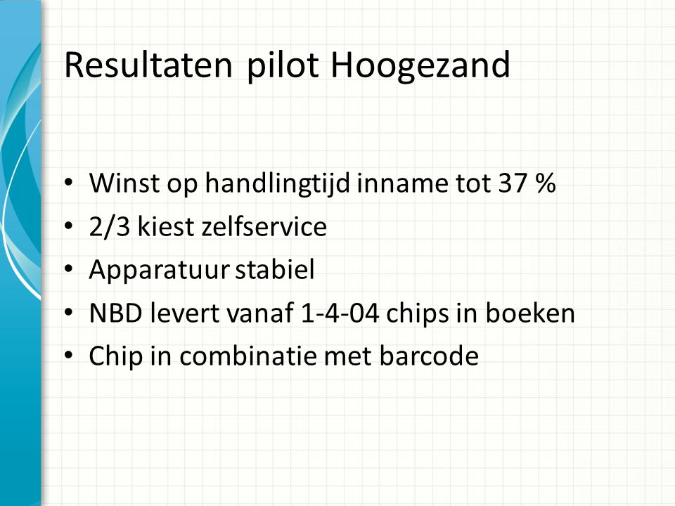 Resultaten pilot Hoogezand