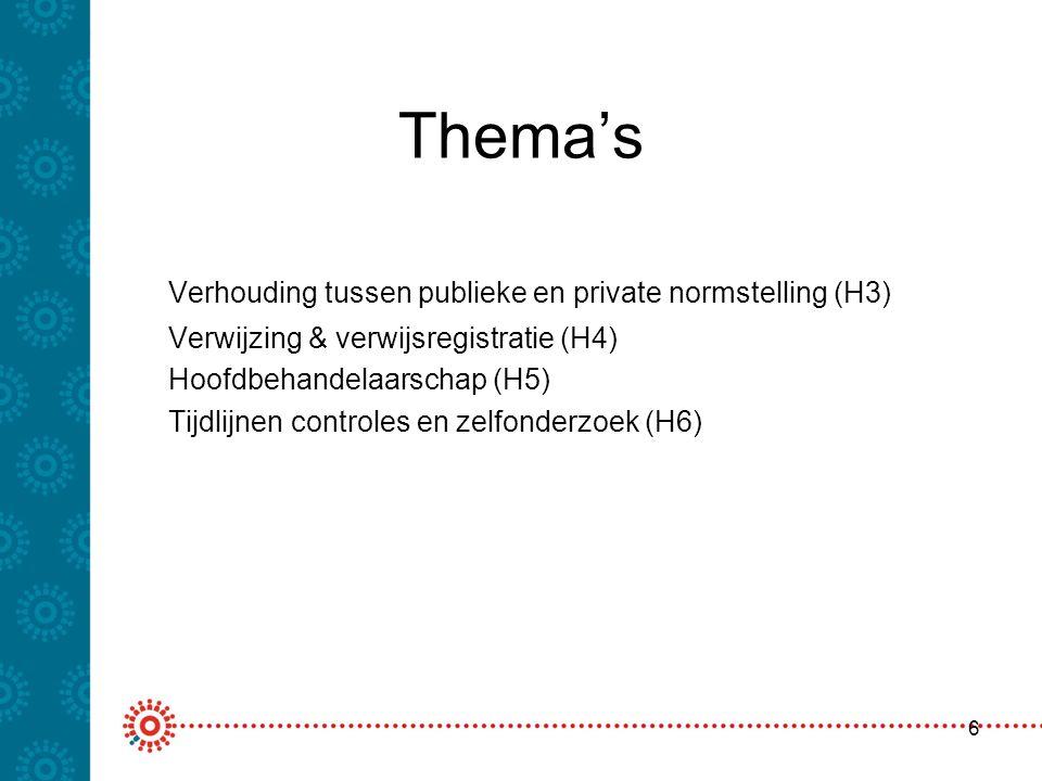 Thema's Verhouding tussen publieke en private normstelling (H3)