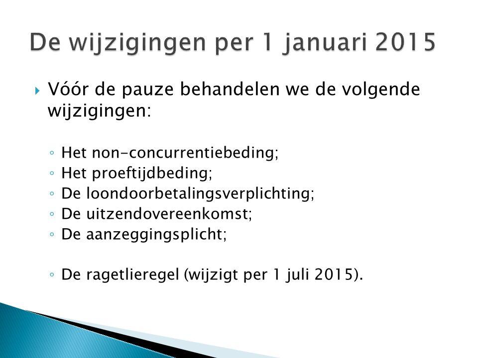 De wijzigingen per 1 januari 2015