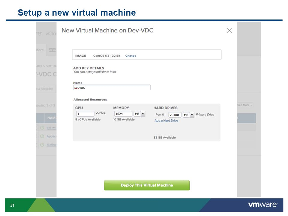 Setup a new virtual machine