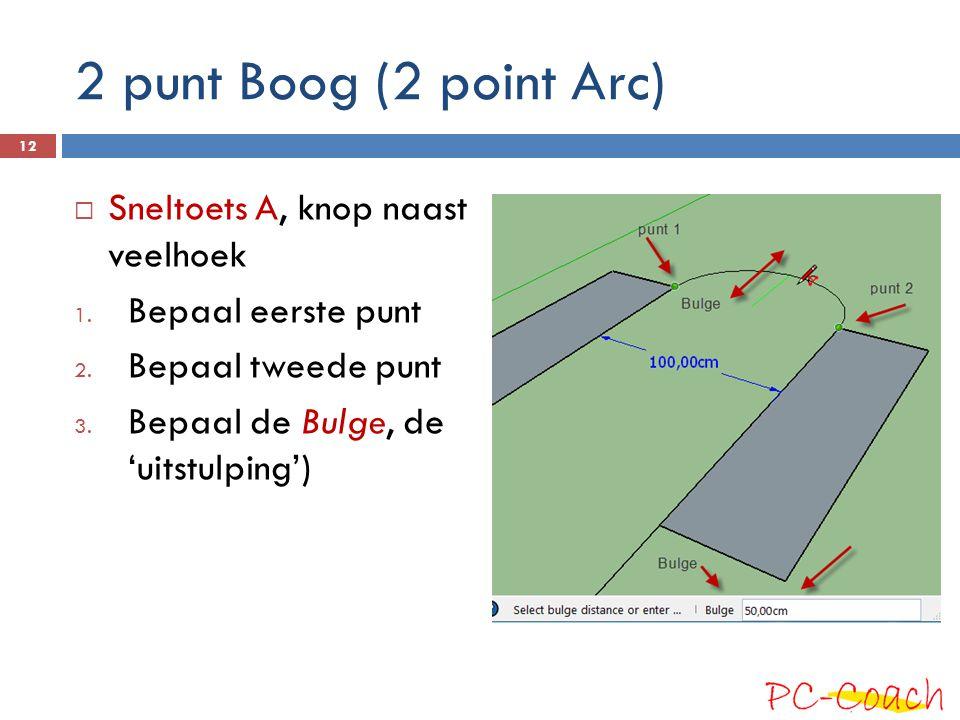 2 punt Boog (2 point Arc) Sneltoets A, knop naast veelhoek