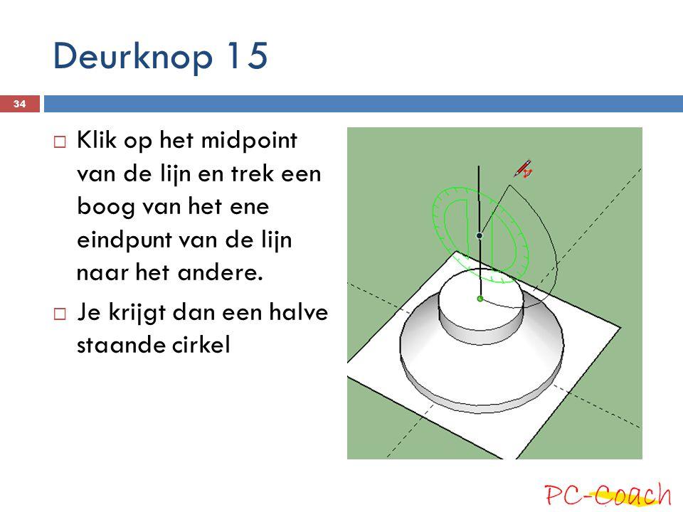 Deurknop 15 Klik op het midpoint van de lijn en trek een boog van het ene eindpunt van de lijn naar het andere.