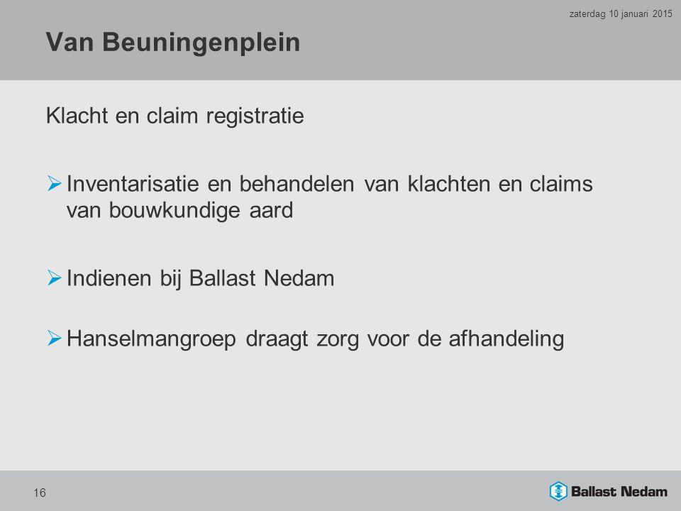 Van Beuningenplein Klacht en claim registratie
