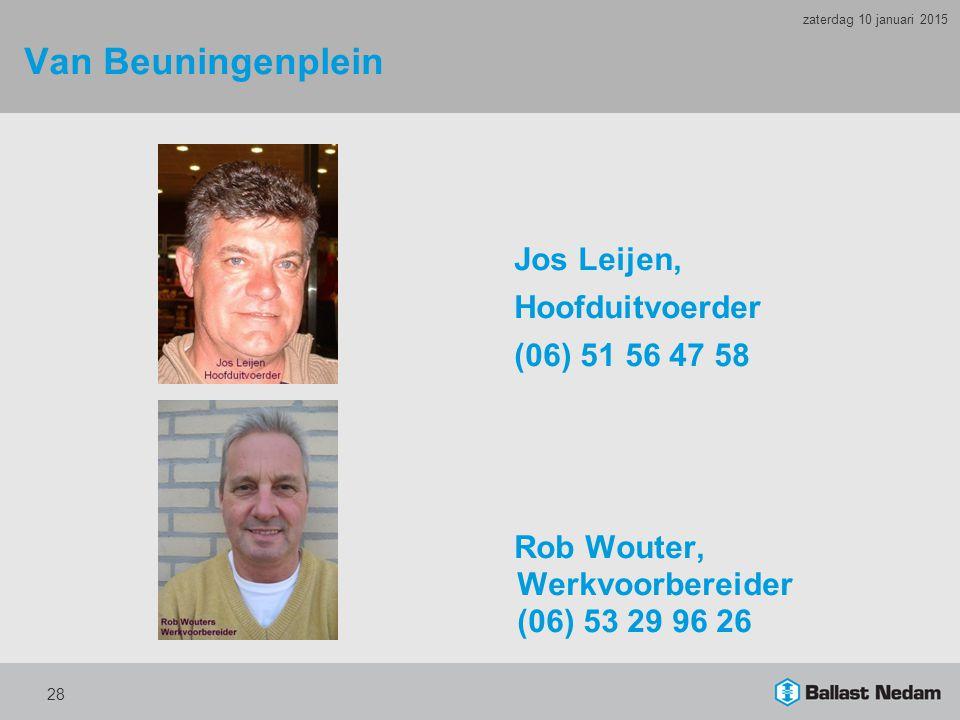 Van Beuningenplein Jos Leijen, Hoofduitvoerder (06) 51 56 47 58