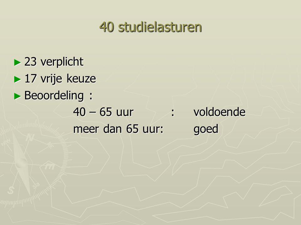 40 studielasturen 23 verplicht 17 vrije keuze Beoordeling :