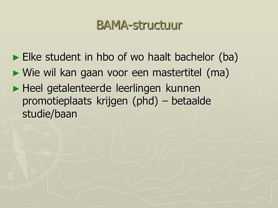 BAMA-structuur Elke student in hbo of wo haalt bachelor (ba)